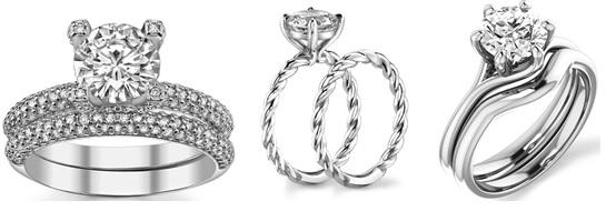 Некоторые женские обручальные кольца из белого золота создают в комплект  помолвочному, что позволяет невесте носить оба кольца после свадьбы. 08fdb09327e